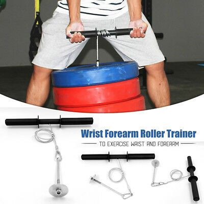 Wrist Roller Forearm Exercise Weights Strength Bar Gym Sport Training Dumbell Pw