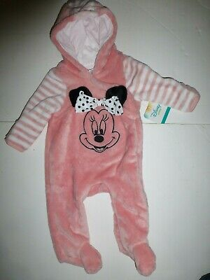 3aad9c492 Disney Baby Minnie Mouse Pink Infant Girls 3/6 Months Hooded Pram Suit New