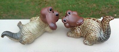 Vintage Gempo Japan Pottery Salt & Pepper Shakers *Alligators