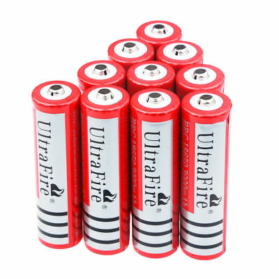 10pcs Ultrafire 18650 3000mAh 3.7V Li-ion Rechargeable Battery For LED Torch US.