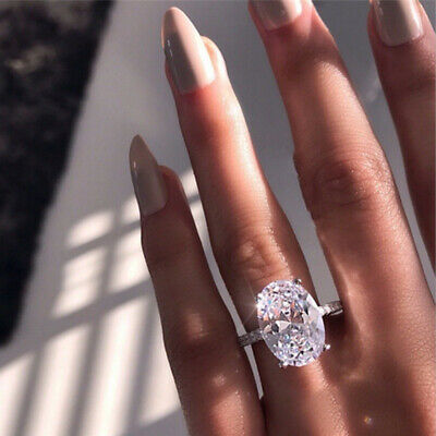 New Luxury Oval White Sapphire Promise Ring Wedding Jewelry Gift Crystal Alloy