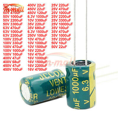 6.3V-450V 10uF-10000uF High Frequency Low ESR Radial Electrolytic Capacitor 105C