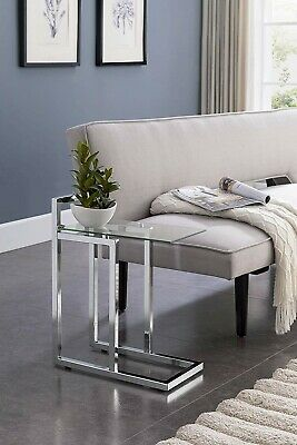 Astonishing Chrome Glass Side Table End Contemporary Modern Snack Sofa Gmtry Best Dining Table And Chair Ideas Images Gmtryco