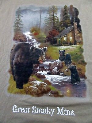 GREAT SMOKY MOUNTAINS Cabin Black Bear Family Vacation T Shirt Size XL (NWOT)