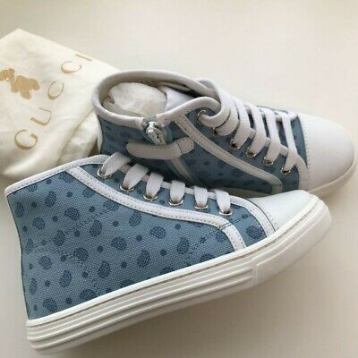 f04fb43c225 Gucci High cut shoes sneakers shoelaces 28 Baby kids blue fastener boy Auth  new