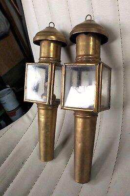 Pair Antique Carriage Lamps Lime House Lamp Co 150 00