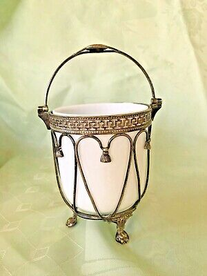 Unusual Vintage White Glass  Preserve Pot With Silver Plated Casing