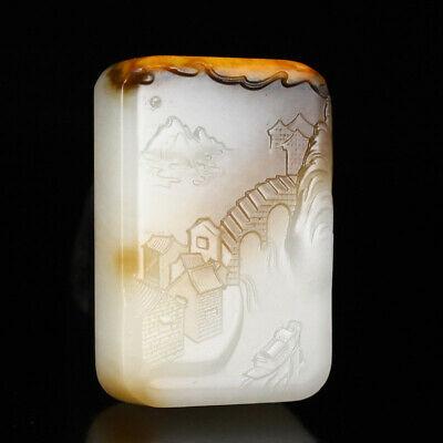 Certified China 100% Nephrite hetian jade handcarved Scenery landscape Pendant