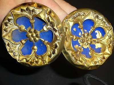 2 Antique brass Repousse Blue curtain tie-backs, Hooks for Jewelry or Clothes