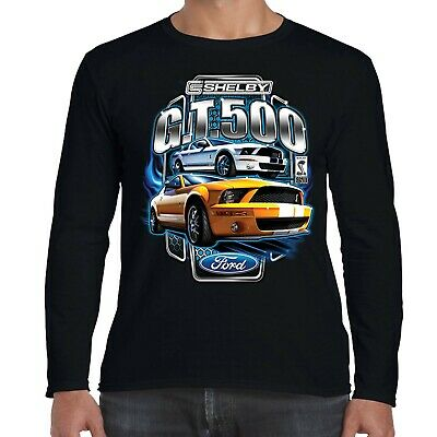 Mens Ford Mustang Carroll Shelby Long Sleeve T-Shirt GT 500 American Muscle Car