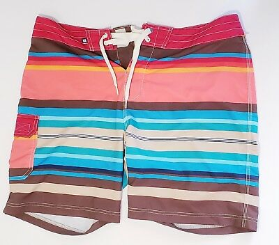 12ab2185c6 Sperry Mens Top-Sider Swim Trunks Board Shorts Stripes Red Blue Brown Sz 36