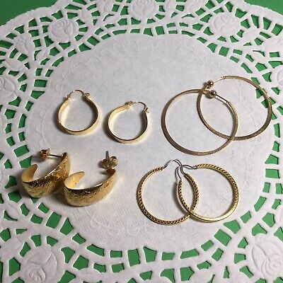 Four Pair Lot Of Lovely Vintage Pierced Hoop Earrings Pretty Styles And Colors