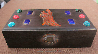 Chinese antique yellow rosewood hand carved ancient  box case cabinet statue