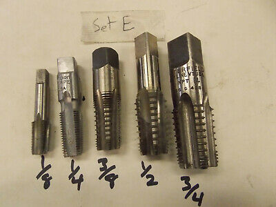 """5 Piece Set Butterfield or USA NPT Tap 1/8'' 1/4 3/8 1/2 3/4"""" National Pipe Tap"""
