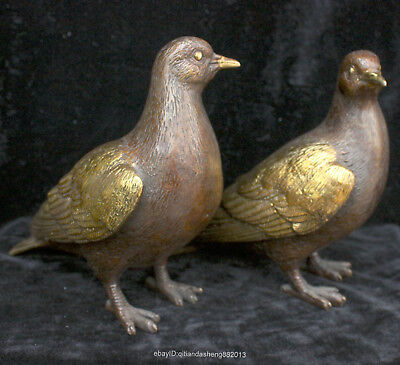 19cm China gold Bronze Hand engraving A pair of artistic style dove statues