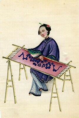 Antique 19th-century Chinese Pith Painting, Qing Dynasty Woman Silk Embroiderer
