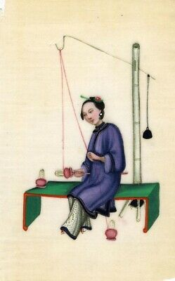 Antique 19th-century Chinese Pith Painting, Qing Dynasty WomanSilk Spinning
