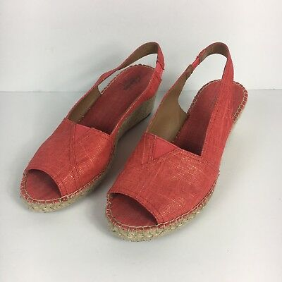 09d79bf5bb891 Clarks Women's Petrina Rhea Red Linen Fabric Wedge Heel Slingbacks Size 9 M