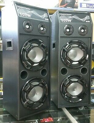 Casse Amplificate Attive 2000W Doppio Subwoofer Audio Dj Mp3 Usb Bt Fm 2 Woofer