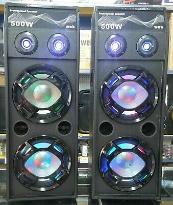 Casse Amplificate Attive 2000W Doppio Subwoofer Audio Dj Mp3 Usb Bt Fm 2 Woofer!