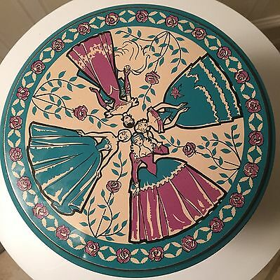Vintage Large Collectible Tin w/ History Of  Fashions Through Time-Danish