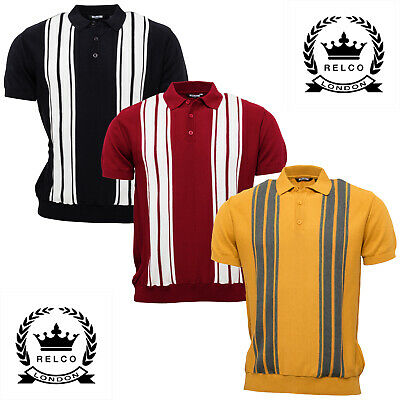 Relco Mens Striped Fine Gauge Knit Polo Shirt 3 Colours Stripe Knitted Mod Retro
