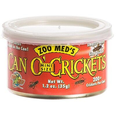Zoo Med Can O' Crickets Mini Size for Reptiles Birds Mammals Food 1.2 oz