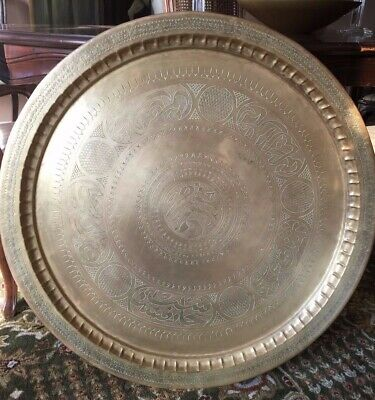 "XL Vintage/Antique Persian Brass Tray w/ Arabic Calligraphy, 32"" Art Wall Piece"