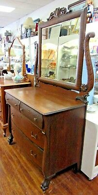 Antique Oak Dresser with paw feet, mirror and harp