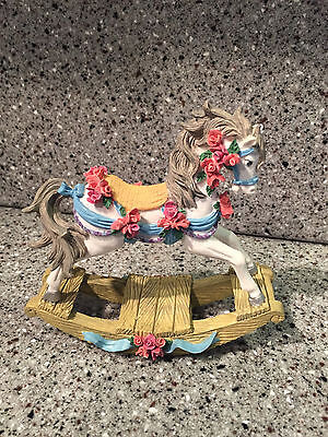White Rocking Horse with Flowers Figurine