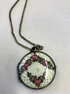 Art Deco Antique Guilloche Enamel Photo Locket Circa 1930