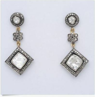 Rosecut Antique Cut Diamond .925 Silver Vintage Turquoise Earring 3.60ct Bridal & Wedding Party Jewelry