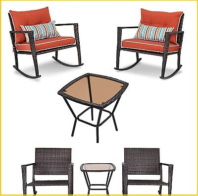 Patio Furniture Set Rocking Chairs Coffee Table Rattan Outdoor Chair Garden Lawn