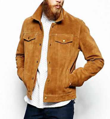RL REAL LEATHER Men's VINTAGE SUEDE SNAP BUTTON Camel DOWNING JACKET - 2XL
