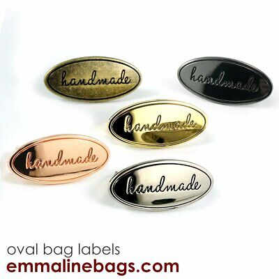 Oval metal 'Handmade' bag label by Emmaline bags - range of finishes