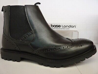 e39d5ab86a8 BASE LONDON BOSWORTH Men's Leather Brogue Chelsea Slip On Boots ...
