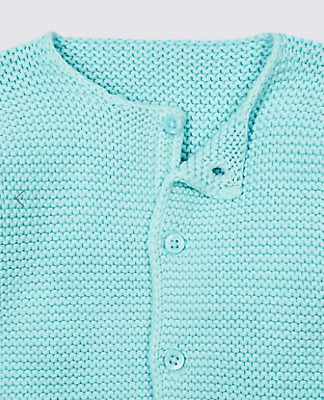 Marks & Spencer Baby Girl Pale Blue Pure Cotton Chunky Knit Cardigan 6-9Months