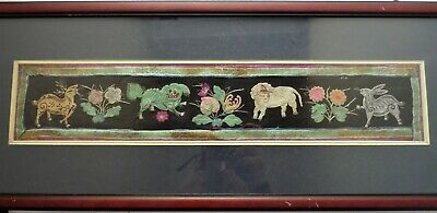 Antique Hand Crafted Dogs Of Fu Deer And Rabbit Design & Silk Textile Picture