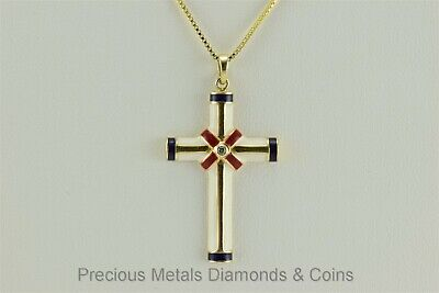 """Gold Sterling Silver Red White Blue Enamel Accented Cross Pendant 18"""" Chain 925"""