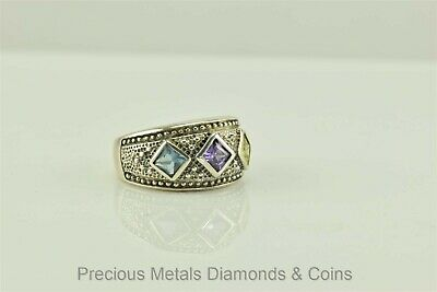 Sterling Silver Oxidized Triple Bezel Set Accented Beaded Band Ring 925 Sz: 7