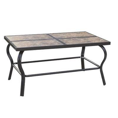 Rectangle Patio Table Ceramic Tile Tabletop Steel Outdoor All-Weather Dinning