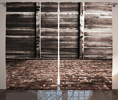 Rustic Curtains Brick Floor Wooden Wall Window Drapes 2 Panel Set 108x90 Inches