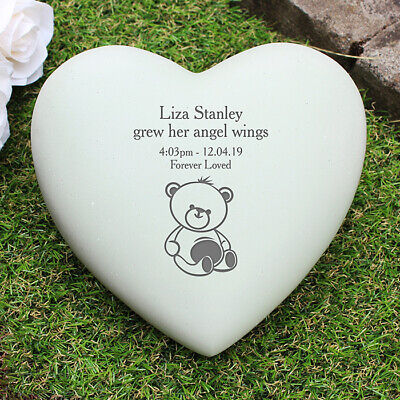 Personalised Infant Baby Memorial Teddy Bear Heart Grave Garden Marker Cemetery