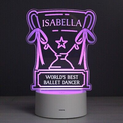 Personalised Trophy LED Colour Changing Bedroom Night Light Girls Boys Football