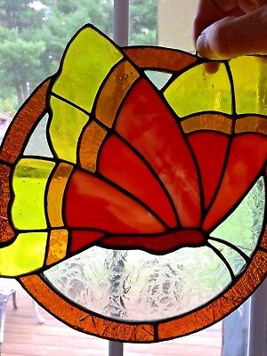 Wonderful vintage old  Butterfly stained glass Suncatcher - some Cracks - look