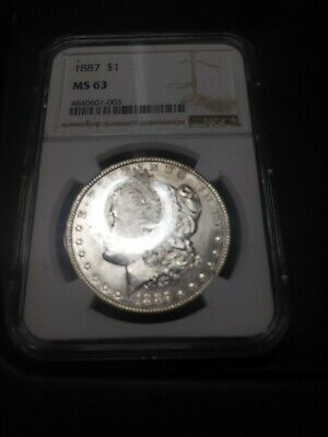 Brilliant Uncirculated 1887-P Morgan Silver Dollar  Ngc Ms 63