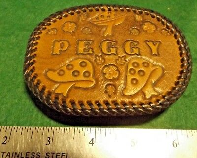 "Nice VINTAGE 1970's Custom Hand Tooled Leather ""PEGGY"" BELT Buckle GUC"