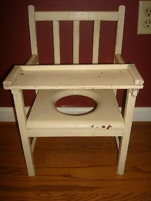 Vintage Childs Potty Chair Solid Wood Crafted 1950 Era