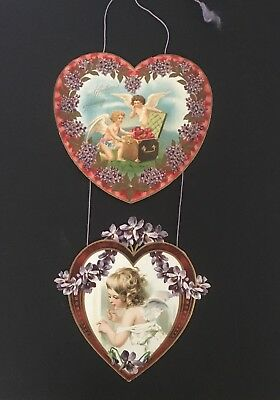 Vintage Victorian Antique Valentine Hearts Wall Hanging EMBOSSED Early 1900's