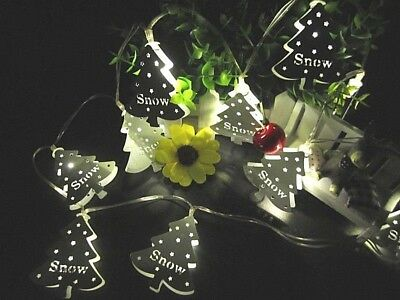 10 WHITE LED Fairy Metal Christmas Tree Battery Operated TIMER String Lights